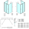 Kép 5/5 - SAPHO POLYSAN EASY LINE zuhanyajtó 2 oldalfallal, 2 merevítővel, 1000x800mm, transzparent üveg (EL1015EL3215EL3215)