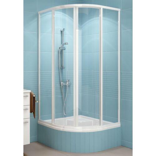 Ravak SKCP4-90 Sabina negyedköríves zuhanykabin minikádakhoz fehér kerettel, pearl muanyag betétlemezzel