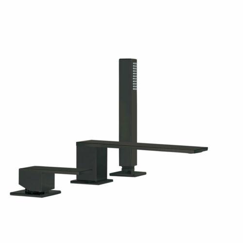 Tres Cuadro Exclusive kádperembe építhető egykaros csaptelep 180 mm-es kifolyóval matt fekete 00616105NM