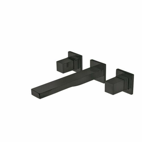 Tres Cuadro Exclusive két fogantyús fali mosdócsaptelep 180 mm-es kifolyóval matt fekete 00815301NM